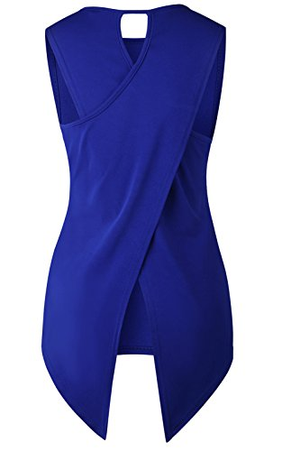 JOKHOO Women Sleeveless Back Cross Slit Tank Top T-Shirt (Blue, XL) (Slit Back Top)