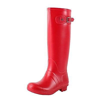 Guilty Heart Waterproof Knee High Wellington Rubber Rainboots Rain Footwear, Red Rubber, 10 B(M) US