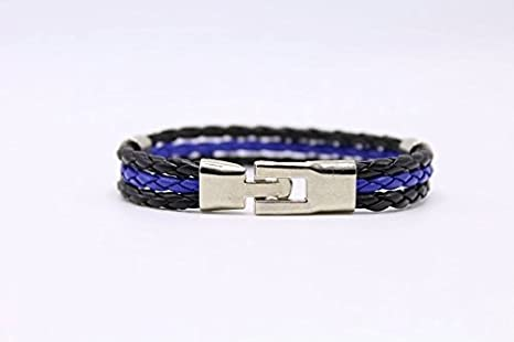 Blue Leatherthin Blue Line Paracord Bracelet Usa America Support Lives Police Matter Survival Bangle Bracelet Fixing Prices According To Quality Of Products Apparel Sewing & Fabric Buckles & Hooks