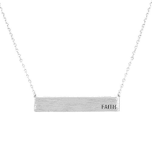 Women's Silver Tone Faith Rectangular Necklace, 16