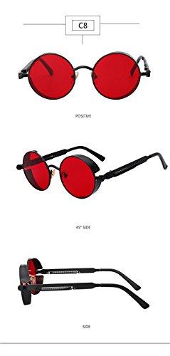 Lunettes femmes Miroir hommes lunettes les Steampunk et rondes Rouge lunettes 2018 pour Lunettes Noir les Retro Vintage Lentille SHq5P6