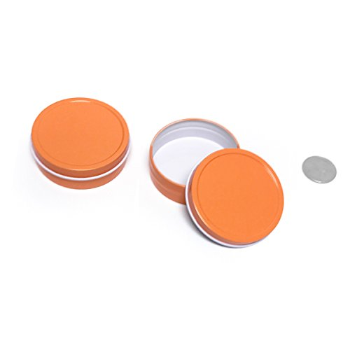 Favors Wedding Gel Candle - Mimi Pack 2 oz Small Round Tin Can Empty Slip Slide Top Lid Steel Containers For Cosmetics, Favors, Spices, Balms, Gels, Candles, Gifts, Storage 24 Pack (Orange)