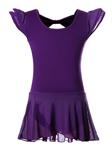 - DANSHOW Girls' Ballet Dance Leotards with Flutter Sleeve Petal Skirt and Bowknot Back(6-8years,Dark Purple)