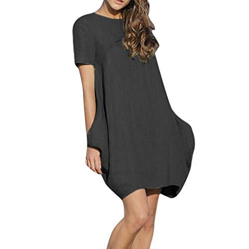 - Leisuraly Women's Cotton Linen Dresses Plus Size Summer Roll-up Sleeve Baggy Sundress Black