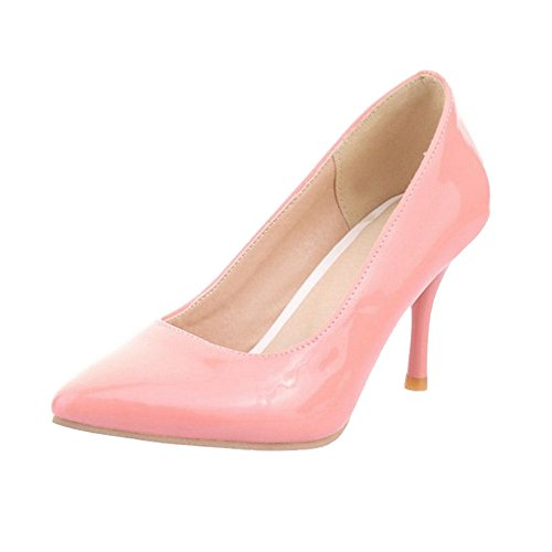 SJJH Mid Thin Heel Court Shoes with Large Size Comfortable Shoes for Fashion Women Pink RI02E6yc0