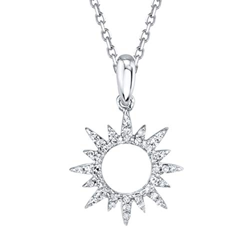 SERAFINA Diamond Sun Charm Pendant Necklace Little Treasures | 925 Sterling Silver Name Necklace with Natural Diamonds | 0.08 Carats and 16