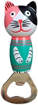 yywl – Sacacorchos, 4 Unidades, Madera de Dibujos Animados, abrebotellas con Forma de Gato, Acero Inoxidable, para casa, Cocina, Bar, Restaurante, Ktv