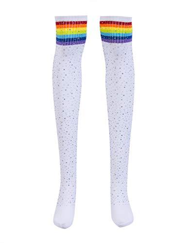 Women's Girls Stripe Diamond Glitter Over The Knee High Stockings Boot Socks (White(rainbow), Free Size)
