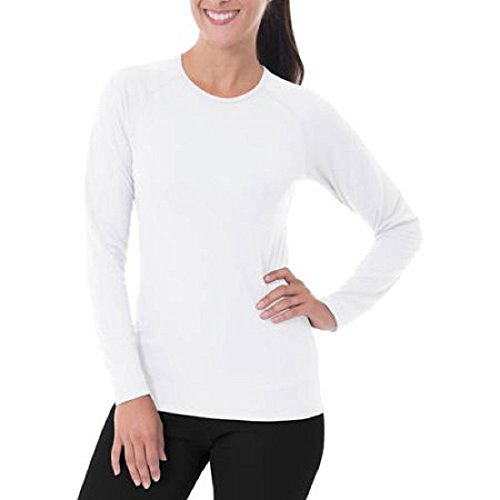 Fruit of the Loom Women's Pintec Baselayer Thermal Crew Top Shirt (2X, Arctic White)