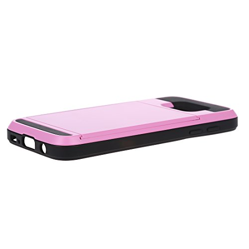 Telefon-Kasten - TOOGOO(R)Karte Tasche Stossfeste Duenne Hybrid Mappe Abdeckung fuer Samsung Galaxy S7 Rosa