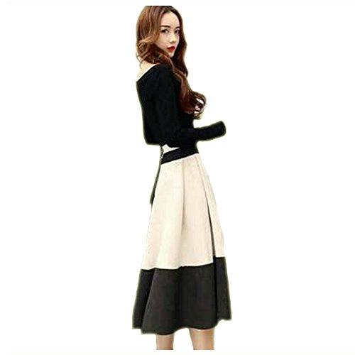 [アルジェント アパ] 2点セット ロンT ひざ丈 スカート ワンピース風 秋 冬 長袖 上品 バイカラー