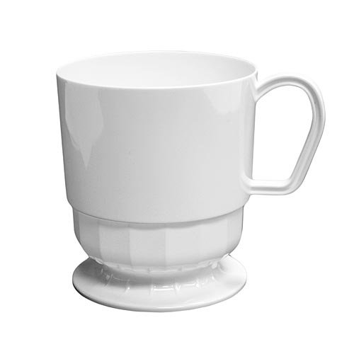 Party Essentials Deluxe/Elegance Hard Plastic 8-Ounce Coffee Cups, 10-Count, White -