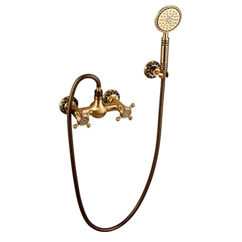 Noble LuxuEuro Style Classic Antique Brass Wall Mounted Shower Sets Porcelain Handshower Simple Shower Mixer Taps ()