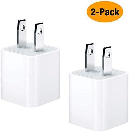 [해외]호환 가능한 아이폰 벽 충전기 플러그 USB 전원 어댑터 큐브 충전 블록은 아이폰 X 8 플러스7 플러스6 플러스6s 플러스55s5cXSXRXS 맥스 아이팟과 아이패드 (2 팩) / Compatible iPhone Wall Charger Plug, USB Power Adapter Cube Charging Block W...