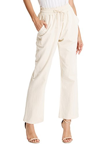 Cotton Linen Pants - GRACE KARIN Women Plain Linen trouse With Side Pockets Size L Apricot