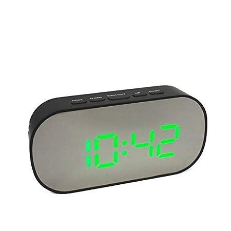 EWJY Reloj Despertador Digital Espejo Reloj Digital Led Snooze ...