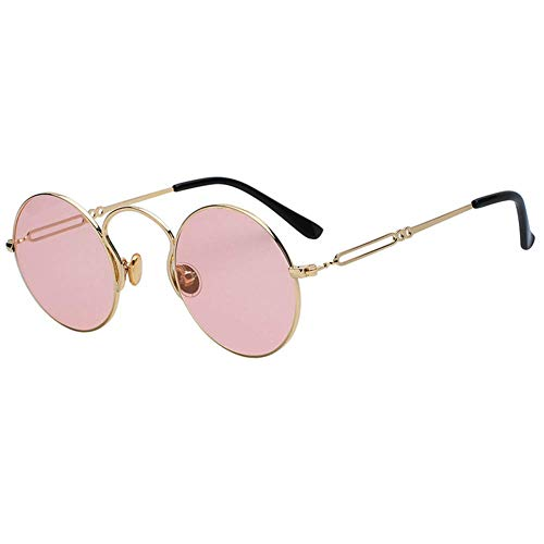 CAOXN 2019 Retro Small Round Sunglasses Men Metal Frame Fashion Sun Glasses for Women Vintage Uv400,GoldFrame/PinkLens