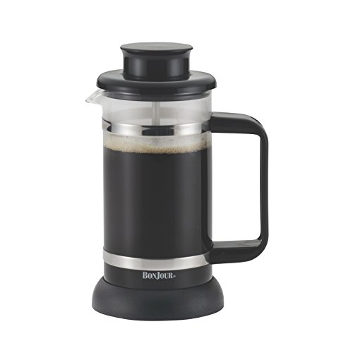BonJour Coffee Borosilicate Glass French Press with Coaster & Scoop, 12.7-Ounce, Riviera, Black (Press French 3 Cup Bonjour)
