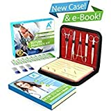 Complete Suture Practice Kit for Medical Students w/How-to Suture HD Video Course, Suture Training Manual & Carryall Case. All-in-One A Plus Medics kit incl. Suture Practice pad. (Education Use Only)
