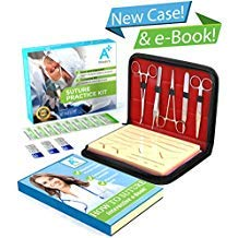 A Plus Medics Suture Kit, Complete Suture Practice Kit with New 2019 Case & Interactive eBook, Incl. Skin Like Suture Pad, Thread Sutures, Surgical Tools & Carryall Leather Case, for Medical Students