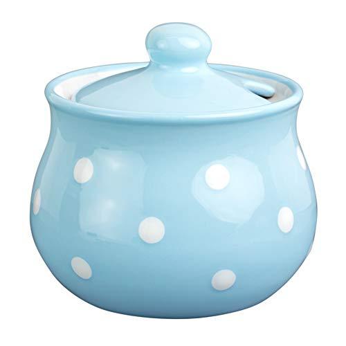 City to Cottage Handmade Light Sky Blue and White Polka Dot Ceramic Sugar Bowl, Pot with Lid   Pottery Honey Jar, Jam Jar   Housewarming Gift