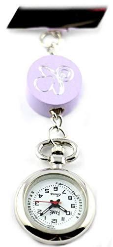 Reloj de enfermera con chupete, blanco y lila, con ...