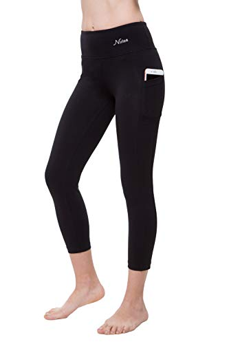 NIRLON Capri 7/8 Yoga Pants Sides Pocket High Waist Workout Black Leggings for Women (L, Black)