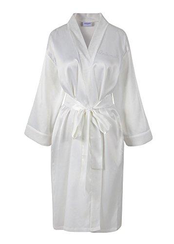 accappatoio personalizzati d' damigella accappatoio Rhinestone satin kimono diamante onore Wedding Ivory day white WSIxq0wgz