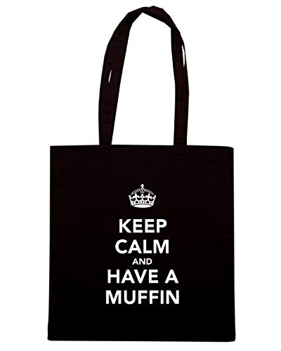 Speed Shirt Borsa Shopper Nera TKC0153 KEEP CALM AND HAVE A MUFFIN