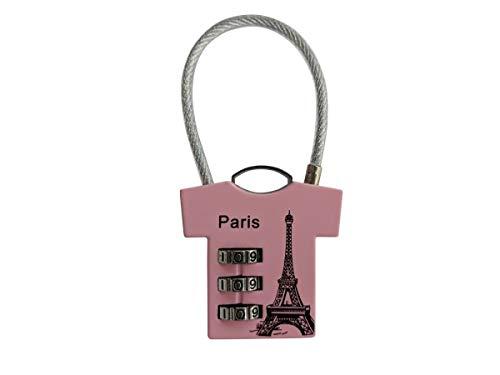 Vorhä ngeschloss Zahlenschloss 3 Zahlen T-Shirt'Paris' pink mbtool