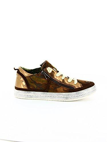 Geox - Zapatos de cordones de cuero para mujer marrón Braun (DK MILITARY C3026)