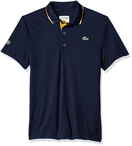 Lacoste Mens Short Sleeve Pique Ultra Dry with Multi-Color Collar Piping Polo, DH3122