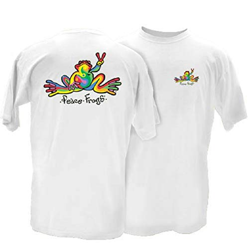 (Peace Frogs Retro Frog Adult Short Sleeve T-Shirt (White, Small) )