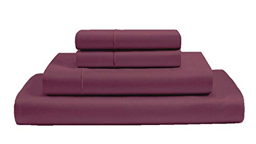 AUDLEY HOME ORGANICS 100% Organic Cotton 4 Piece Sheet Set 300 Thread Count GOTS Certified Premium Hotel Quality Bedding (Full, Plum)