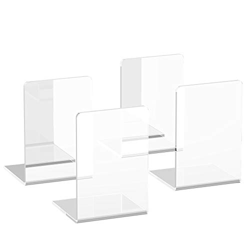 Book Ends, 4 PCS Crystal Clear Acrylic Bookends, Book Ends for Shelves, Large Size 7.1x4.7 inches Support Tons of Books, Elegant Decor in Office, School