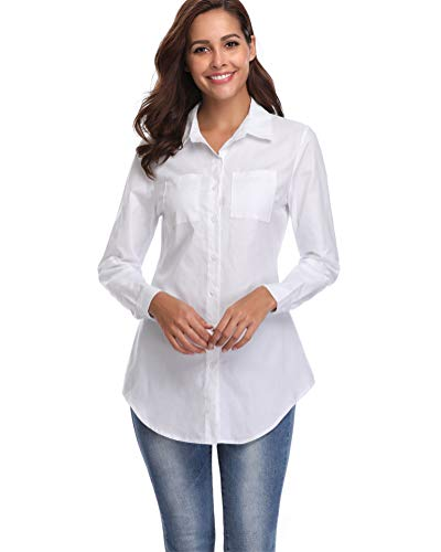 fuinloth Women's Chambray Button Down Shirt, Long Sleeve Cotton Blouse, Long Jeans Tunic Top White Small Button Down Cotton Jeans