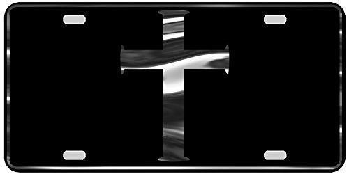 CustoMonsterDesigns Christian Cross License Plate Christian, Religious, Cross License Plate Chrome Mirror Silver on Black Mirror License Plate S16