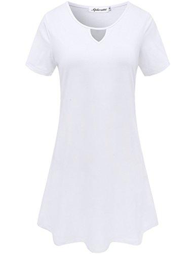 Aphratti Abito Bianco Casuale Donna Maniche T Corte Camicia px1awq