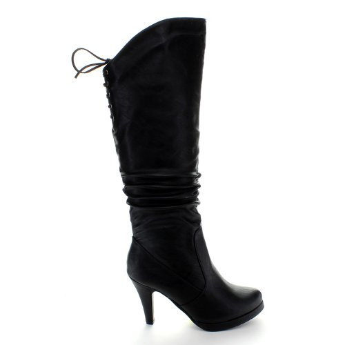 Top Moda Win-40 Womens Over the Knee Thigh High Platform Round Toe Boots Black 10