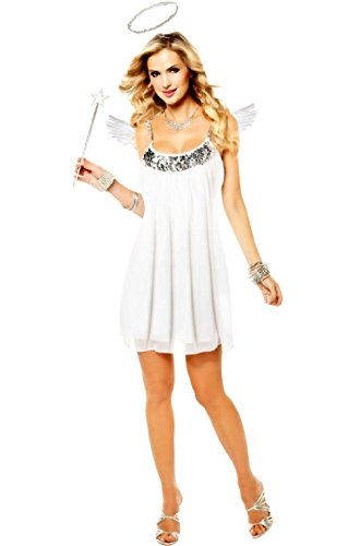unbrand Babydoll Heavenly Angel Adult Halloween Costume (Silver) ()