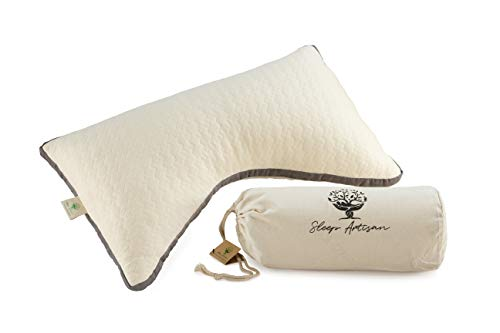 Sleep Artisan Organic Side Sleeper Pillow - Latex & Kapok Pillows for Sleeping - Organic Cotton, Adjustable Loft, Hypoallergenic, Premium Ergonomic Design Helps with Neck Pain - Made in USA ...