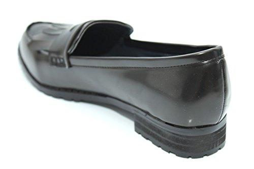 F10869A - Mocassins à gland - style vintage - femme - Noir