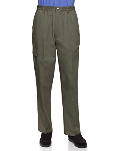 (AKA Wrinkle Free Men's Full Elastic Waist Twill Casual Pant Olive X-Large)