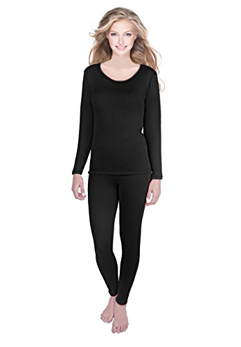 Rocky Womens Thermal 2 Pc Long John Underwear Set Fleece Lined Top and Bottom (Small, Black- Fleece Lined)