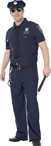 [Smiffy's Men's NYC Cop Costume, pants, Shirt, Mock Tie, Belt and Hat, Cops and Robbers, Serious Fun, Plus Size XL,] (Robber Adult Costumes)