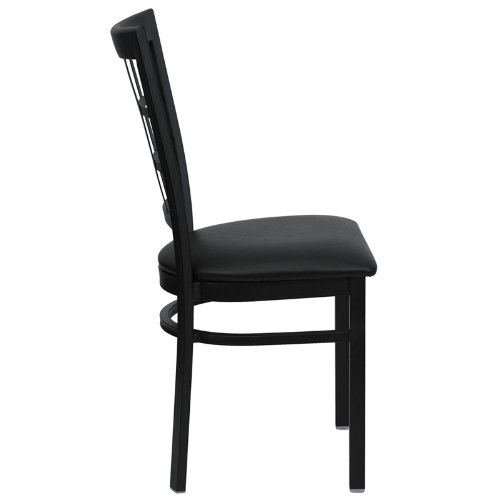 Flash Furniture HERCULES Series Black Window Back Metal Restaurant Chair - Black Vinyl Seat