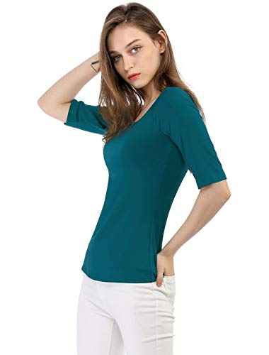 Allegra K Women's Half Sleeves Scoop Neck Fitted Layering Top Soft T-Shirt S Blue Green