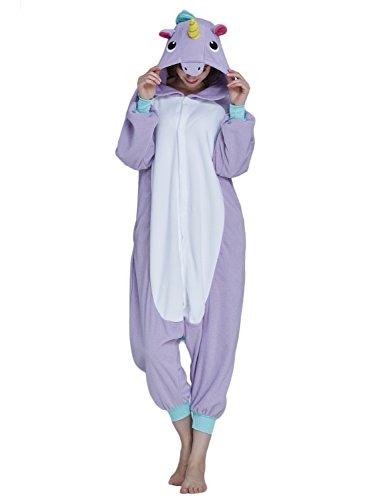 KING Fun Adult Unisex Unicorn Animal Cosplay Onesies Pajama Costume Jumpsuit Purple Small A2