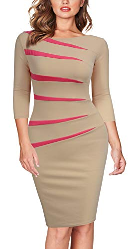 FORTRIC Women 2/3 Sleeve Slim Stitching Bodycon Business Work Pencil Dress Apricot XXL