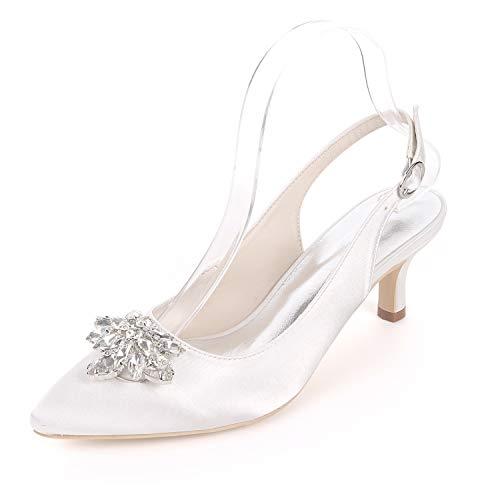 Mujer Tacón 6 L Y Encaje Con yc White Zapatos Para Cerrada Alto Novia De Cm Hebilla Punta 6qv1WtpwqH